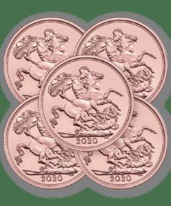 2020 Gold Sovereign 5 coin bundle